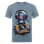 Marvel Guardians of the Galaxy Men's Star-Lord Cassette T-Shirt - Steel