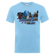 Marvel Guardians of the Galaxy Men's Team Montage T-Shirt - Sky