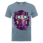 Marvel Guardians of the Galaxy Men's Star-Lord Mask T-Shirt - Steel