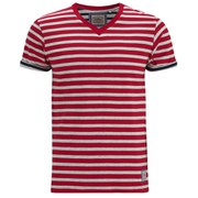Brave Soul Men's Boson Striped V Neck T-Shirt - Red Marl