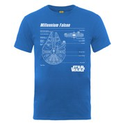Star Wars Men's Millenium Falcon Blueprint T-Shirt - Royal