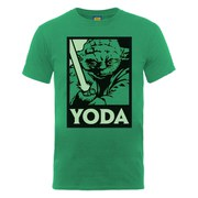 Star Wars Men's Yoda Saber Art Poster T-Shirt - Kelly Green