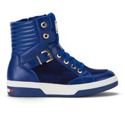 Love Moschino Women's Ribbed Hi-Top Buckle Trainers - Blue