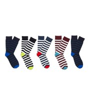 Jack & Jones Men's Block 5 Pack Socks - Stripes