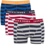 Jack & Jones Men's Yarndyed Block Mix 3 Pack Boxers - Chinese Red/Navy Blazer/Light Grey Melange