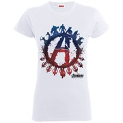 Marvel Women's Avengers Age of Ultron Team Silhouette Logo T-Shirt - White