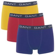 GANT Men's 3 Pack Trunk Boxer Shorts - Blue/Red/Yellow