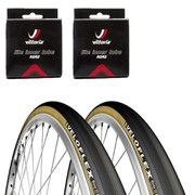 Veloflex Master 23 Clincher Road Tyre Twin Pack with 2 Free Inner Tubes - Black 700c x 23mm
