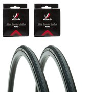 Vittoria Rubino Pro Clincher Road Tyre Twin Pack with 2 Free Inner Tubes - Black 700c x 23mm