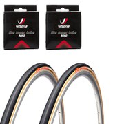 Clement Strada LGG Clincher Road Tyre Twin Pack with 2 Free Tubes - Black/Tan - 700c x 25mm
