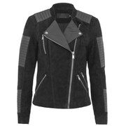 ONLY Womens Ava Suede Biker Jacket - Black