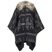ONLY Women's Kiva Faux Fur Poncho - Dark Grey Melange