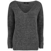 VILA Women's V-Neck Knitted Jumper - Dark Grey