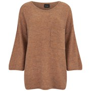 VILA Women's Loose Knitted Pocket Jumper - Autumn Leaf