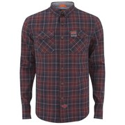Superdry Men's Grindlesawn Long Sleeve Shirt - Red Iron