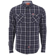 Superdry Men's Grindlesawn Long Sleeve Shirt - Charcoal Rivet Check