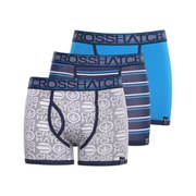 Crosshatch Men's Scatter Printed 3 Pack Boxers - Neon Blue