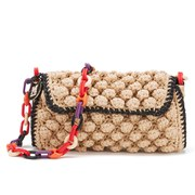 M Missoni Women's Raffia Shoulder Bag - Rose Gold