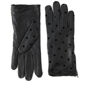 Maison Scotch Women's Dots Leather Gloves - Black