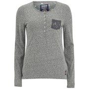 Superdry Women's Super Sewn Lace Pocket Henley Long Sleeve Top - Rugged Grey