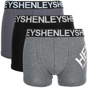 Henleys Men's Large Logo 3 Pack Boxers - Grey/Black
