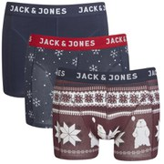 Jack & Jones Men's 3 Pack Xmas Boxers - Navy Blazer/Fudge/Navy Blazer