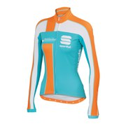 Sportful Women's Gruppetto Pro Thermal Long Sleeve Jersey - Green Water/Apricot/White
