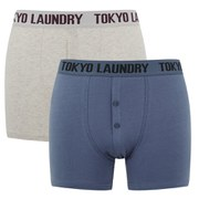Tokyo Laundry Men's 2 Pack Button Fly Boxers - Indigo/Oat Grey Marl