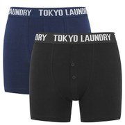 Tokyo Laundry Men's 2 Pack Button Fly Boxers - Blue/Black