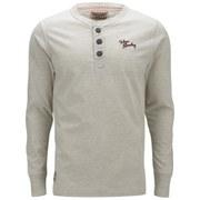 Tokyo Laundry Men's Logo Long Sleeve Grandad Top - Oat Grey Marl