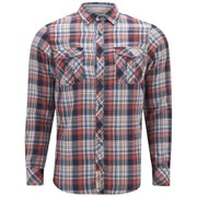 Tokyo Laundry Men's Checked Cotton Shirt - Baked Coral