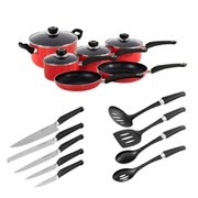 Morphy Richards 977505 6 Piece Pan Set with Tools - Red