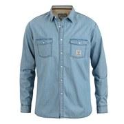 Urban Beach Men's Stack Long Sleeve Denim Shirt - Light Blue