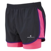 RonHill Women's Vizion Twin Short - Black/Pink/Wildberry