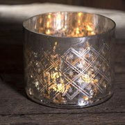 Nkuku Etched Glass Tea Light Holder (14 x 15cm)