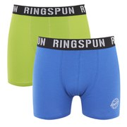 Ringspun Men's Evenlode 2 Pack Boxers - Strong Blue/Lime