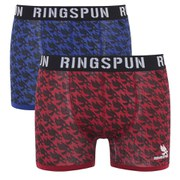 Ringspun Men's Astwood 2 Pack Boxers - Strong Blue/Red