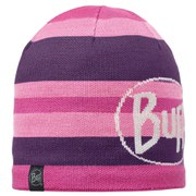 Buff Knitted and Polar Ovel Hat - Plum