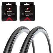 Vittoria Rubino Pro Slick Clincher Road Tyre Twin Pack with 2 Free Inner Tubes - Black/Grey 700c x 23mm