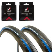 Michelin Lithion 2 Clincher Road Tyre Twin Pack with 2 Free Inner Tubes Blue/Black 700c x 23mm