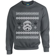 Star Wars Christmas Stormtrooper Yoda Sweatshirt - Charcoal