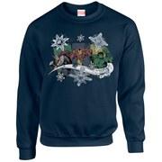 Marvel Kids' Comics Christmas Thor Iron Man Hulk Sweatshirt - Navy