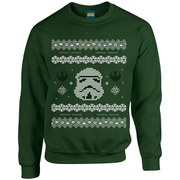 Star Wars Kids' Christmas Stormtrooper Yoda Sweatshirt - Forest Green