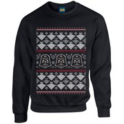 Star Wars Kids' Christmas Darth Vader Imperial Starship Sweatshirt - Black