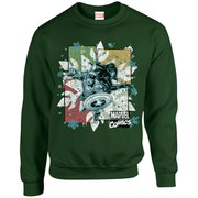 Marvel Comics Christmas Black Widow Captain America Sweatshirt - Forest Green