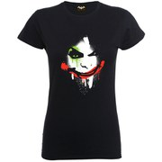 DC Comics Women's Batman Arkham City Halloween Joker Face Shirt - Black