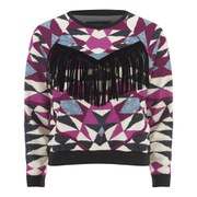"MINKPINK Women's ""Mirror Mirror"" Placement Print Fringe Trim Sweater - Multi"