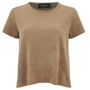 """MINKPINK Women's """"Truth Potion"""" Micro Suede Seamed T-Shirt - Tan"""