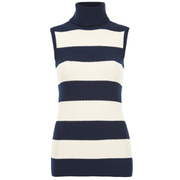 Ganni Women's Stripe Sleeveless High Neck Jumper - Vanilla Ice/Total Eclipse