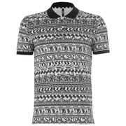 Versus Versace Men's All Over Pattern Polo Shirt - White/Black